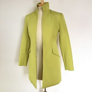 Quilted herringbone lime green mod-length jacket
